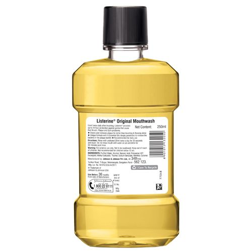 Listerine Mouthwash - Original, 250 ml