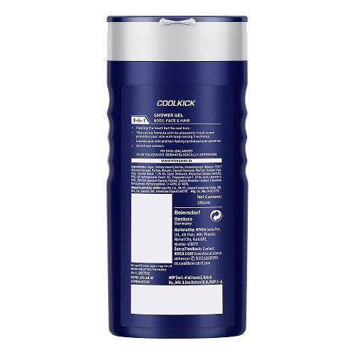 Nivea Men - Cool Kick Shower Gel For Hair, Face & Body, 250 ml
