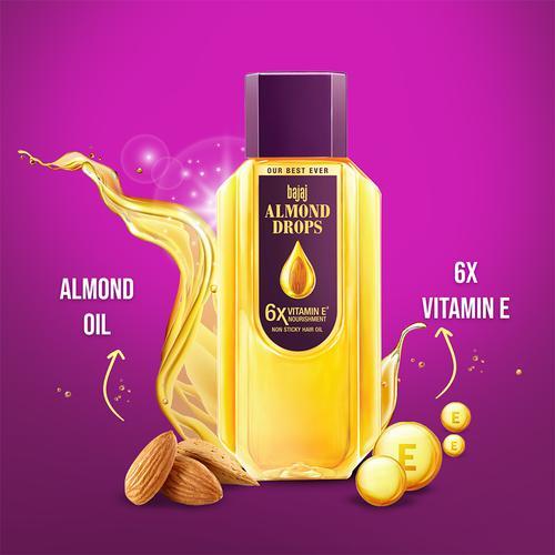 Bajaj Almond Drops Hair Oil - 6X Vitamin E, Reduces Hair Fall, 500 ml