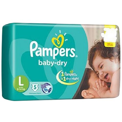 Pampers  Baby Dry Diapers - Large (9-14 kgs), 5 pcs Pouch