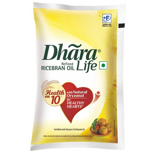 Dhara Refined Oil - Rice Bran (Natural Oryzanol & Vitamin E), 1 L Pouch