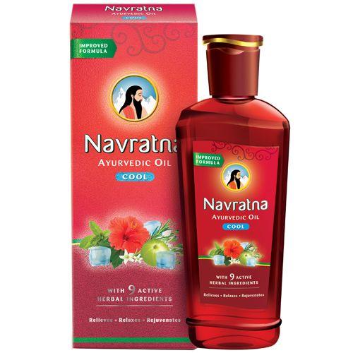 Navratna Ayurvedic Hair Oil - Cool, Enriched With Bhringraj, Amla, Bhrami, For Head & Body Ache, Fatigue, 500 ml