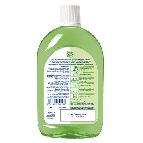 Dettol Multi-Purpose Disinfectant Liquid Cleaner - Lime Fresh, 200 ml