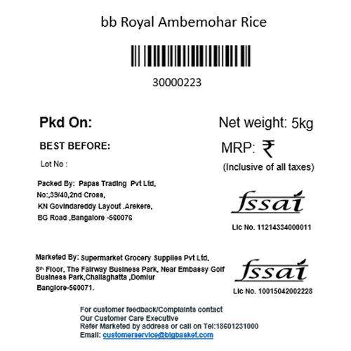 bb Royal Ambemohar Rice, 5 kg Pouch