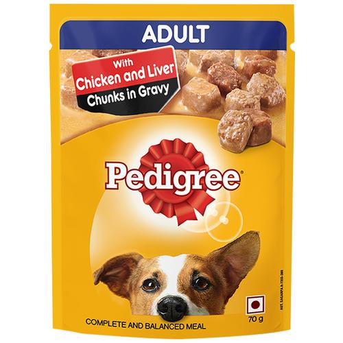 Pedigree Wet Dog Food-  Chicken & Liver Chunks In Gravy, For Adult Dogs, 70 g Pouch