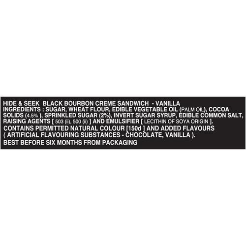 Parle Hide & Seek Black Bourbon Cream Sandwich - Vanilla, 100 g Pouch