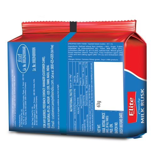 Elite Rusk - Milk, 63 g