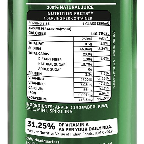 Raw Pressery Lean - 100% Natural Cold Pressed, Vegetable & Fruit Juice, 250 ml