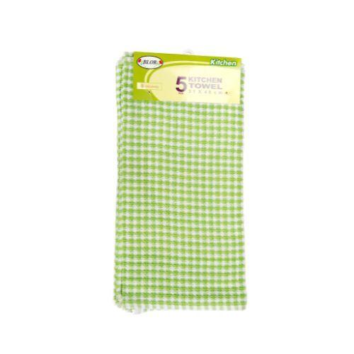 Blor Kitchen Towel - Hibiscus Green, 5 pcs