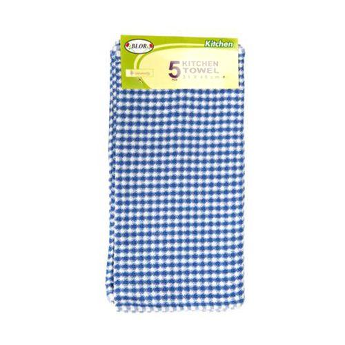 Blor Kitchen Towel - Hibiscus Blue, 5 pcs