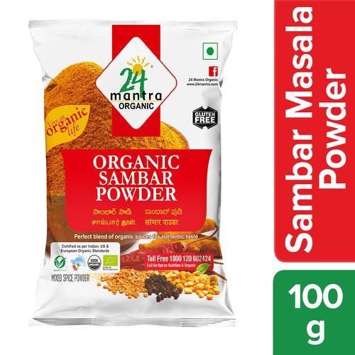 24 Mantra Organic Powder - Sambar, 100 gm Pouch