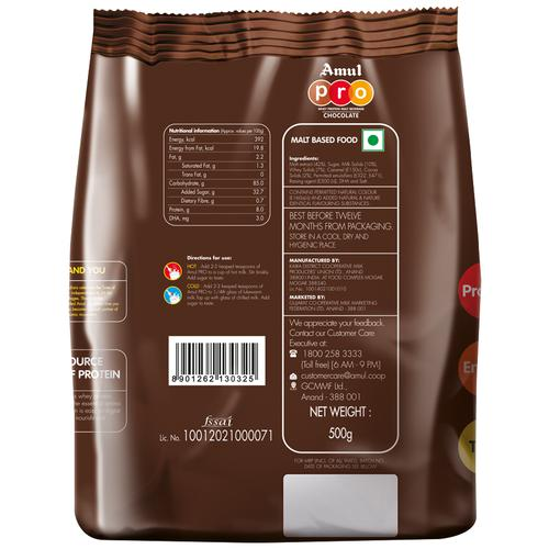 Amul Pro Whey Protein - Malt Beverage Health Drink With Dha - Chocolate, 500 g Carton