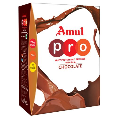 Amul Pro Whey Protein - Malt Beverage Health Drink With Dha - Chocolate, 500 gm Carton