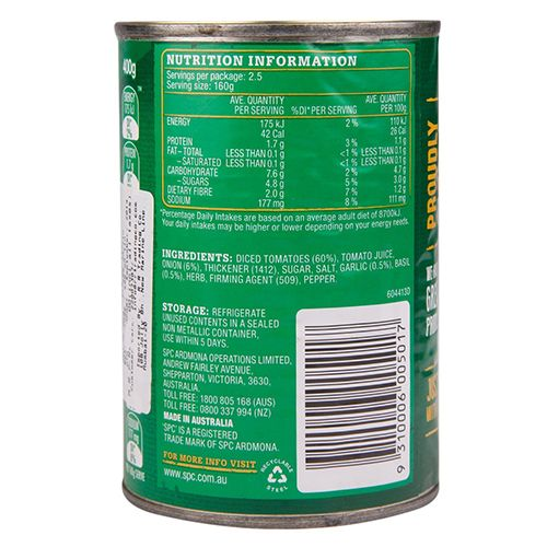 Spc Diced Tomatoes - Onion, Garlic & Basil, 400 gm