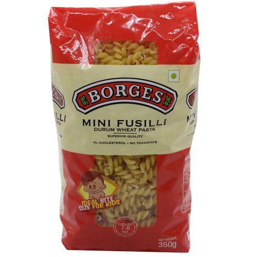 BORGES Durum Wheat Pasta - Mini Fusilli, 350 g Pouch