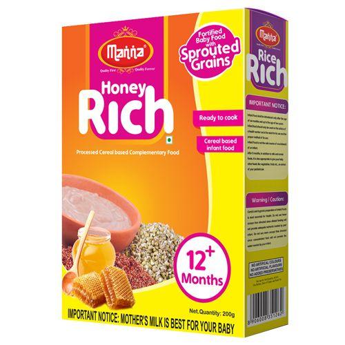 Manna  First Baby Food - Honey Rich (for Bonnie Babies), 200 gm Carton
