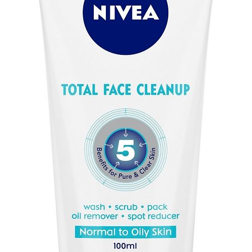 Nivea Total Face Clean Up 3-In-1 Face Wash - For All Skin Types, 100 ml