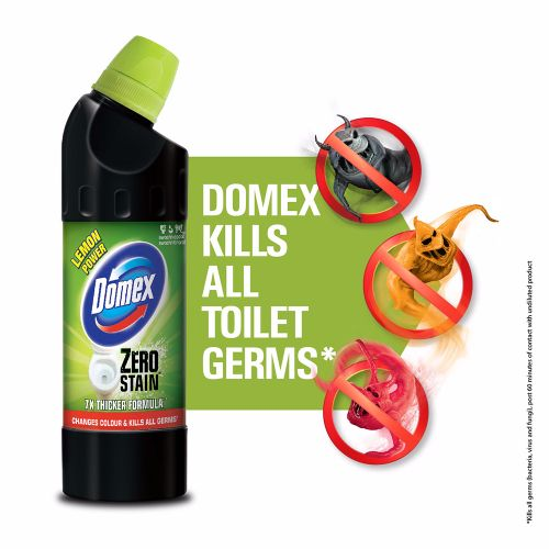 Domex Toilet Cleaner - Lemon, Zero Stain, 750 ml