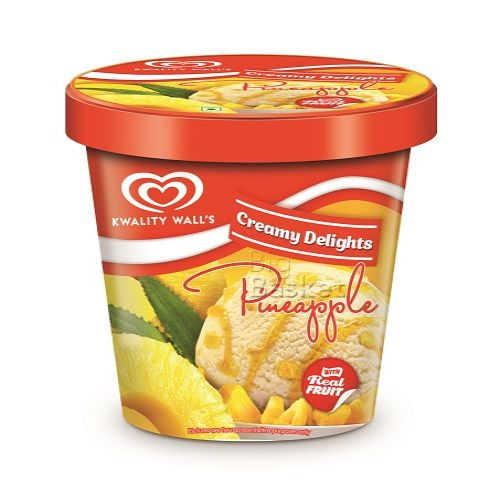 kwality walls Frozen Dessert - Pineapple With Real Fruit, Creamy Delights, 750 ml Jar