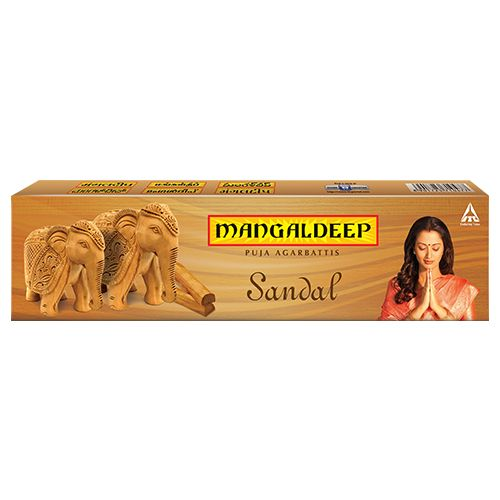 Mangaldeep Puja Agarbatti - Sandalwood, 14 Sticks Carton