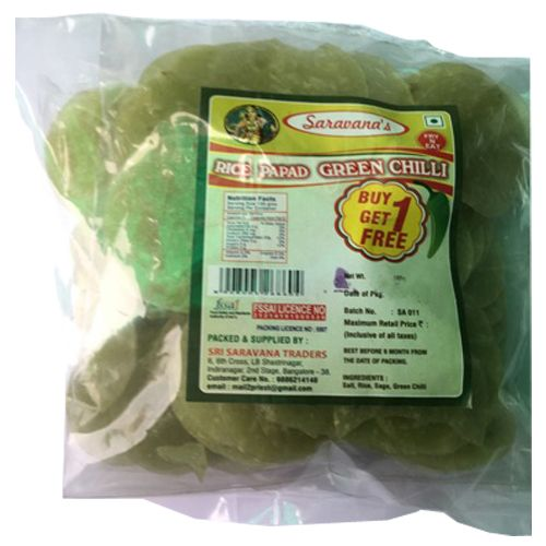 Saravanas Papad - Green Chilly, 100 gm Pouch