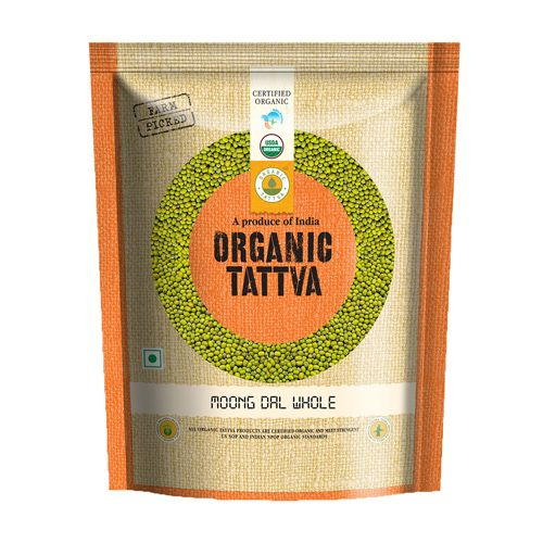 Organic Tattva Organic Moong - Sabut(Whole), 500 gm Pouch