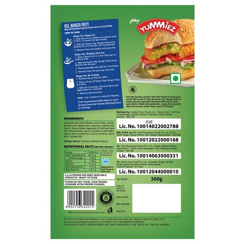 Real Good Yummiez Veg. Burger Patty, 360 g
