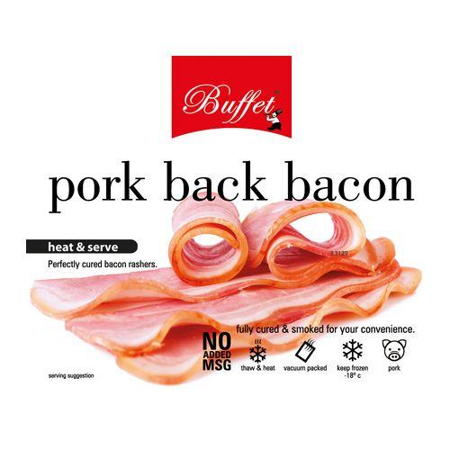 Buffet  Pork Back Bacon - Heat & Serve, 400 gm Pouch