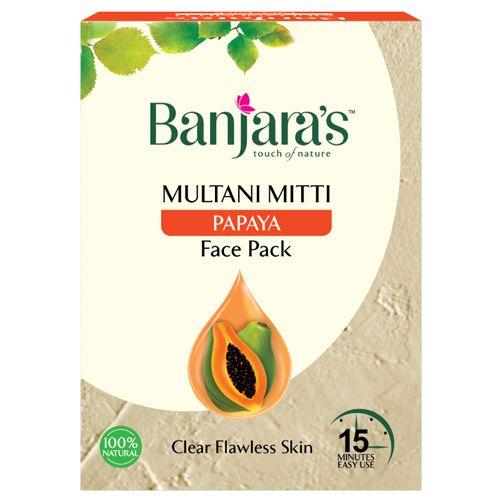 Banjara's Multani Mitti + Papaya Face Pack Powder, 20 gm Pack of 5