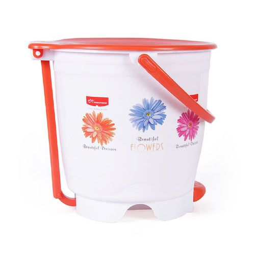 Princeware Dustbin - Floral Printed With Handle, Assorted Color, 1 pc