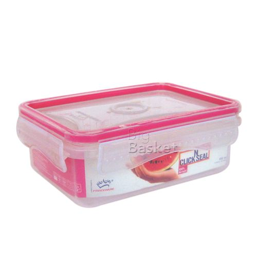 Princeware Click N Seal Rectangular Microwaveable Plastic Container - L5911-VL, 190 ml