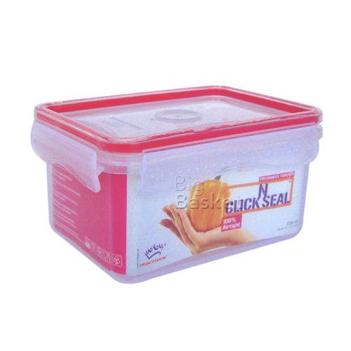 Princeware Click N Seal Rectangular Microwaveable Plastic Container - L5914-VL, 730 ml