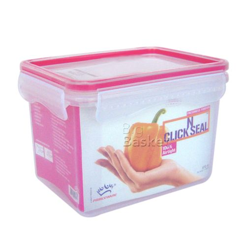 Princeware Click N Seal Rectangular Microwaveable Plastic Container - L5915-VL, 970 ml