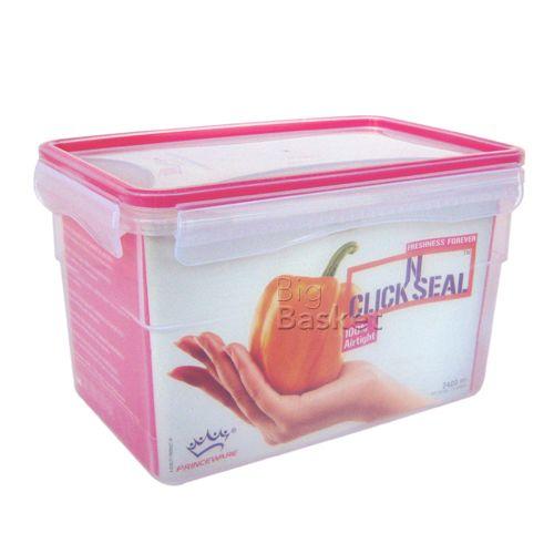 Princeware Click N Seal Rectangular Microwaveable Plastic Container - L5918-VL, 1.81 lt
