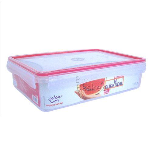 Princeware Click N Seal Rectangular Microwaveable Plastic Container - L5920-VL, 2.165 lt
