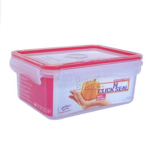 Princeware Click N Seal Rectangular Microwaveable Plastic Container - L5927-VL, 500 ml
