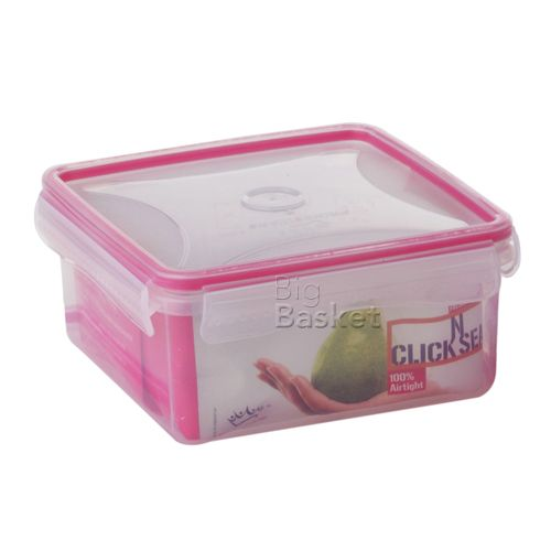 Princeware Click N Seal Square Microwaveable Plastic Container - L5942-VL, 620 ml