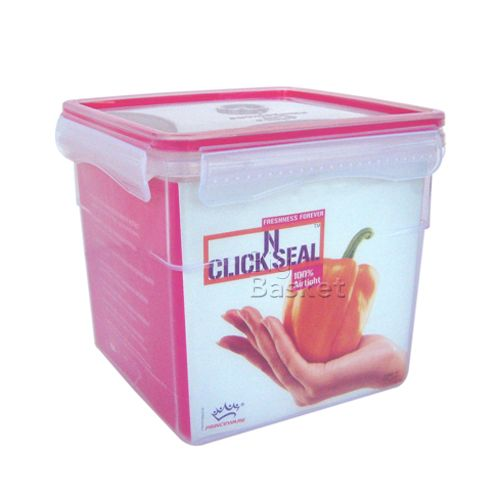 Princeware Click N Seal Square Microwaveable Plastic Container - L5943-VL, 1.235 lt