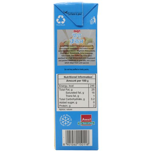 Amul Fresh Cream - 25% Milk Fat Low Fat, 1 L Carton