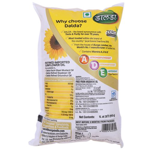 Dalda Refined Imported Sunflower Oil, 1 L Pouch