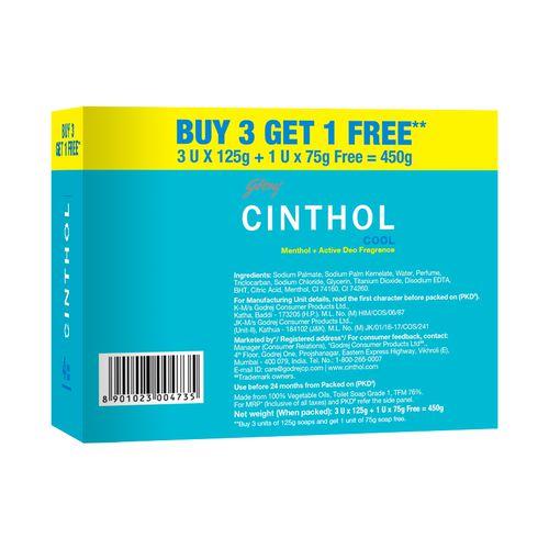 Godrej Cinthol Cool Bath Soap, 125 g (Buy 3 Get 75 g Free)