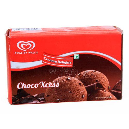 kwality walls Frozen Dessert - Choco Xcess, Creamy Delights, 900 ml Carton