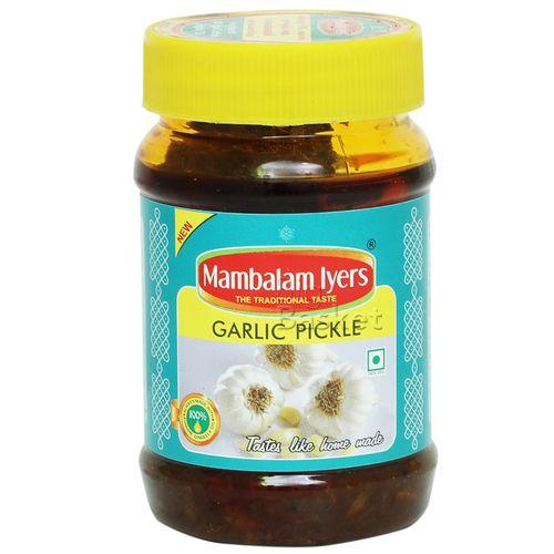 Mambalam Iyers Pickle - Garlic, 200 gm Bottle