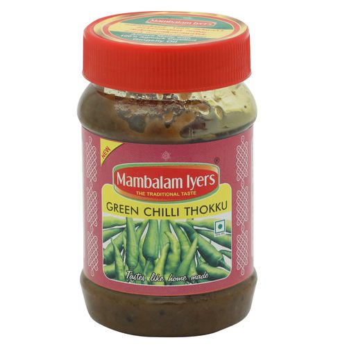Mambalam Iyers Thokku - Green Chilli, 200 gm Bottle