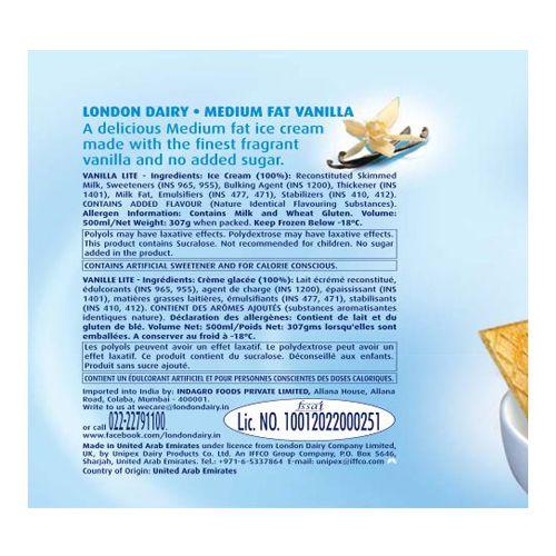 London Dairy Ice Cream - Vanilla Lite, 500 ml Tub