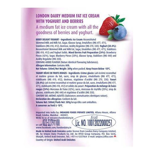 London Dairy Ice Cream - Yoghurt Berry Delight, 500 ml Tub