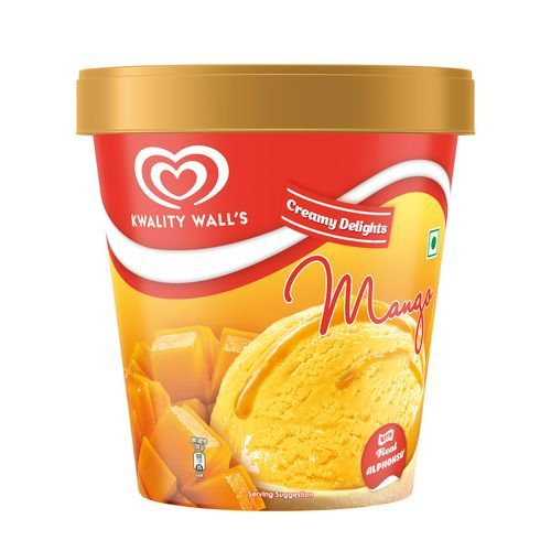 kwality walls Frozen Dessert - Mango With Real Alphonso, Creamy Delights, 750 ml Jar