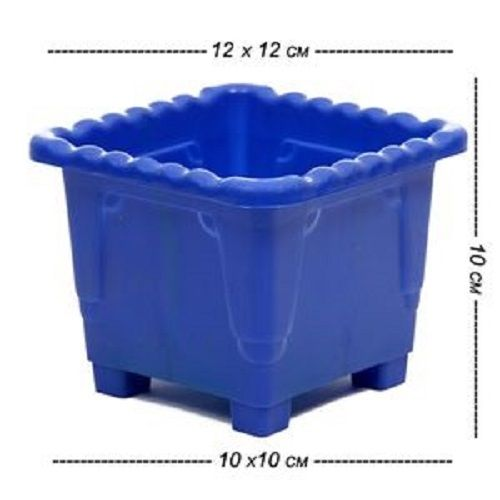 Kr Square Pot - Blue (Pack of 6), Upper 12 X 12 cm Height 10 cm