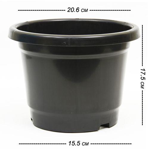 Kr Nursery Pot - Black (Pack of 3), Open Dia 20.6 cm Height 17.5 cm