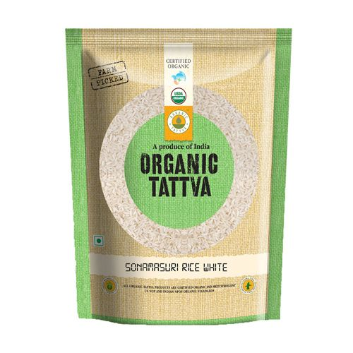Organic Tattva Sonamasuri Rice - White Polished, 1 kg Pouch